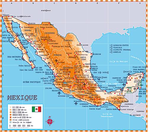 Carte du Mexique © Mondeos