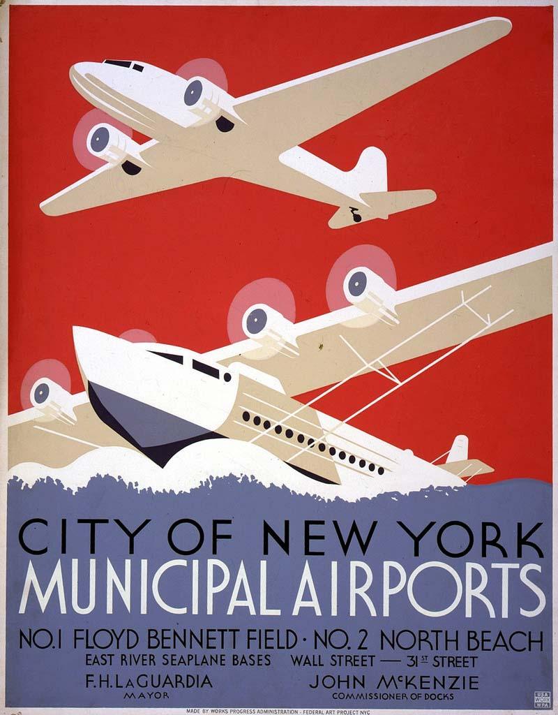 Poster de 1940 pour l'aéroport de New-York © Robin O'Neill