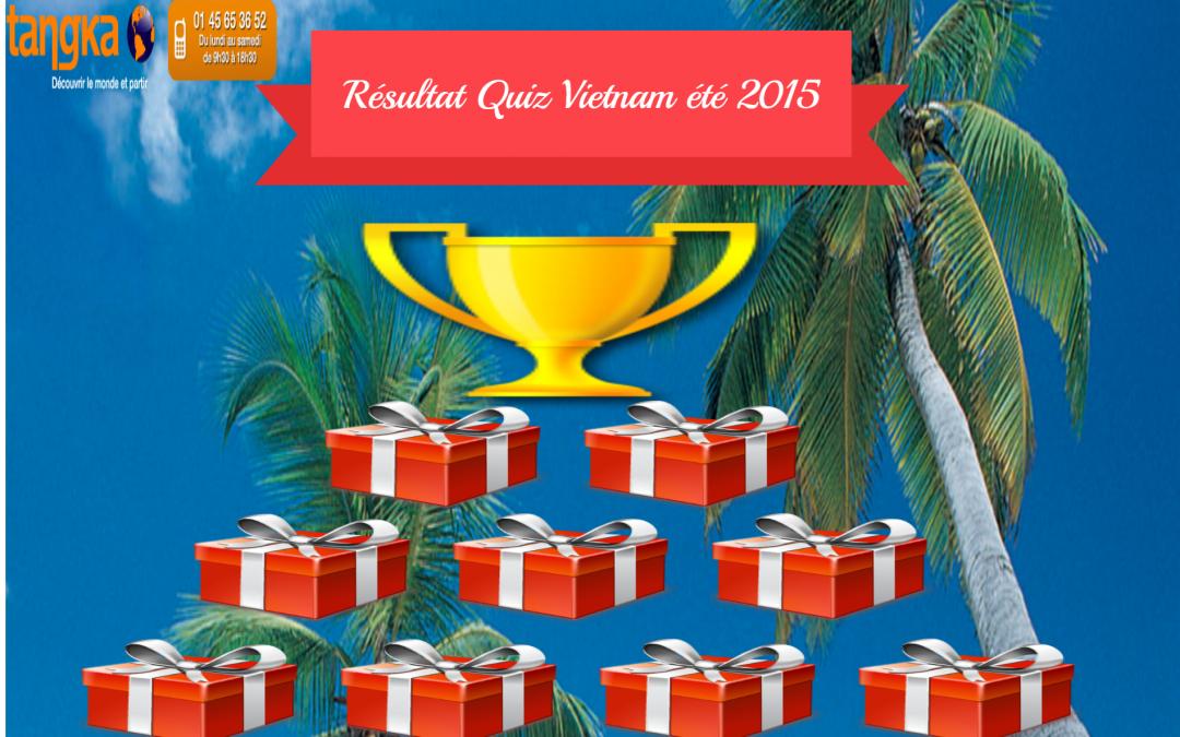 Résultat du Quiz Vietnam Tangka Voyages du 30/06/2015 au 31/07/2015