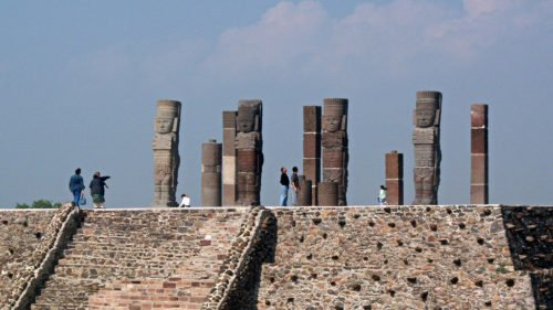 Atlantean columns on Pyramid B in form of Toltec warriors, Tula, Mexico