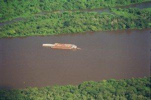 Barge Traffic in Pantanal - Brésil