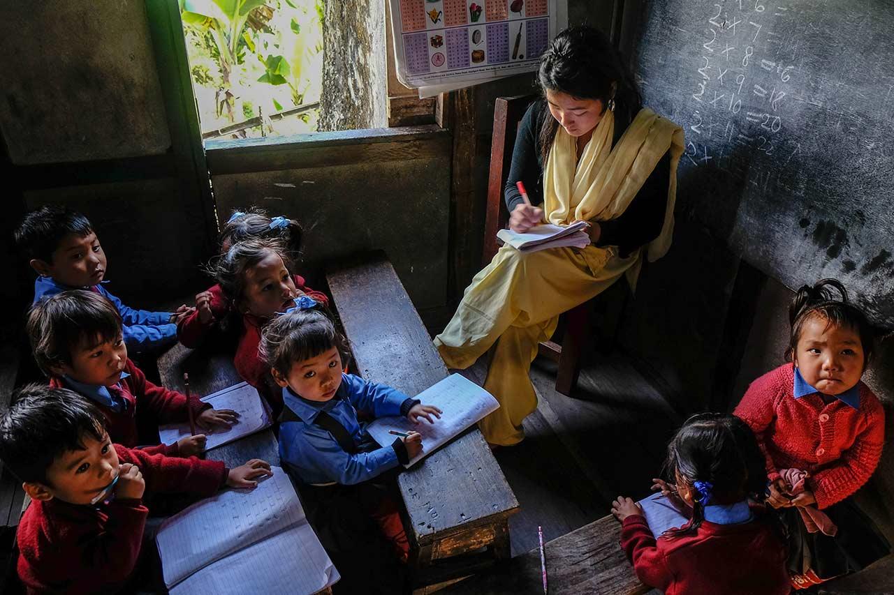 École primaire à Sikkim, Inde