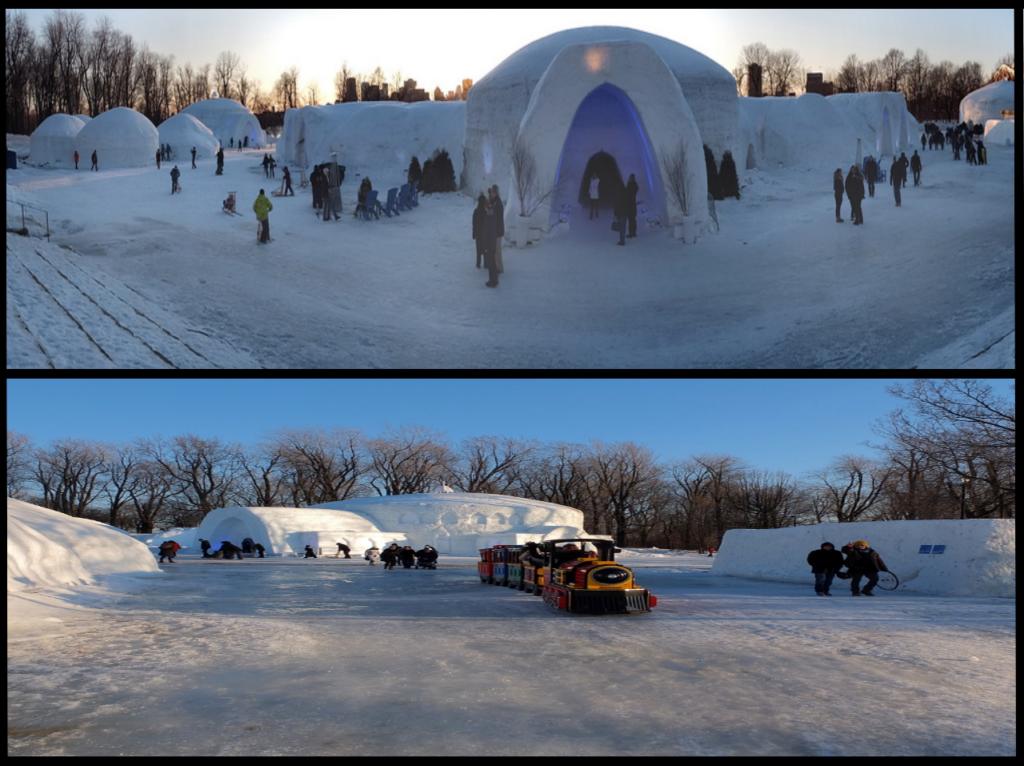 Le village de glace dans le Parc Jean Drapeau de Montréal, Canada